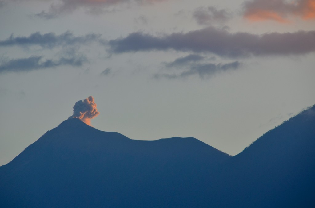 My last sunset and a small eruption on Fuego